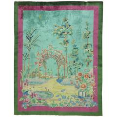 Antique Chinese Art Deco Rug with Landscape Scenery