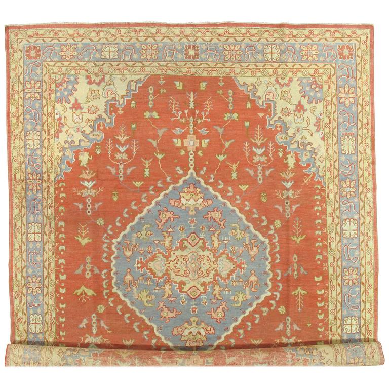 Antique Oushak Carpet, Handmade Oriental Rug, Coral and Light Blue Fine Rug