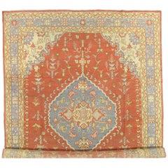 Antique Oushak Carpet, Handmade Oriental Rug, Coral and Light Blue Fine Rug
