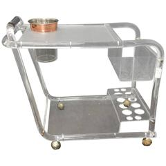 Lucite and Chrome Bar Cart in Manner of Charles Hollis Jones