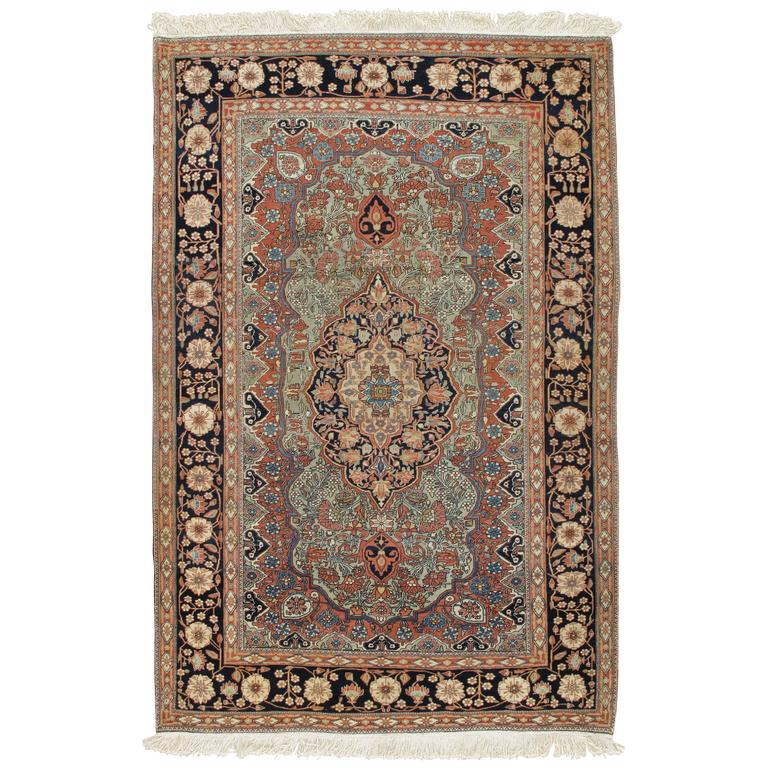 Antique Mohtasham Kashan Rug At 1stdibs