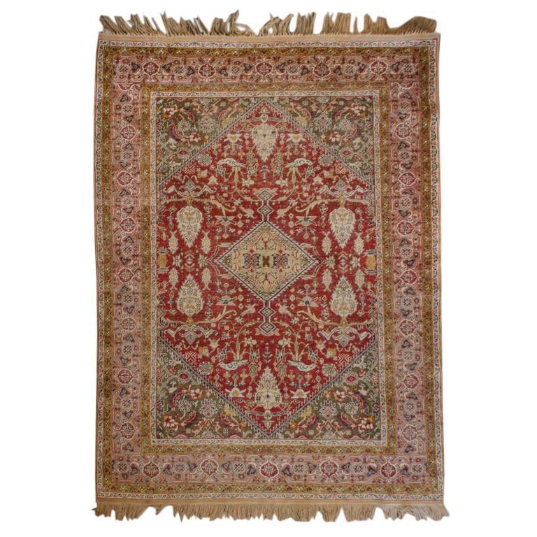 Wonderful Early 20th Century Silk Kayseri Rug For Sale At