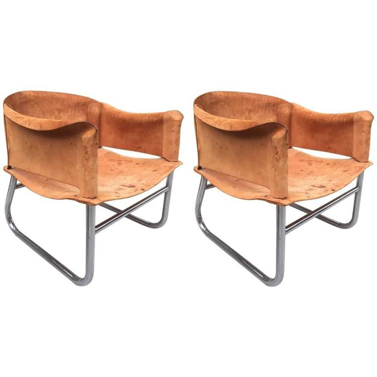 Pair of Italian Leather and Chrome Lounge Chairs