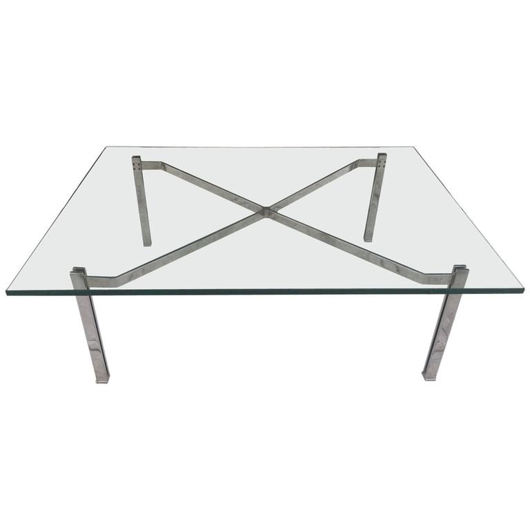 Flat Bar Chrome Coffee Table in the style Kjaerholm