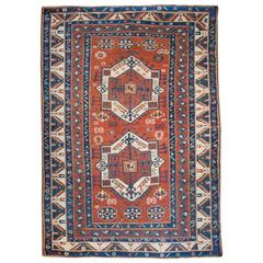 Interesting 19th Century Fachralo Kazak Rug