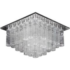 Beautiful Large Vintage Flush Mount Chandelier with Hand Blow Glass Prisms