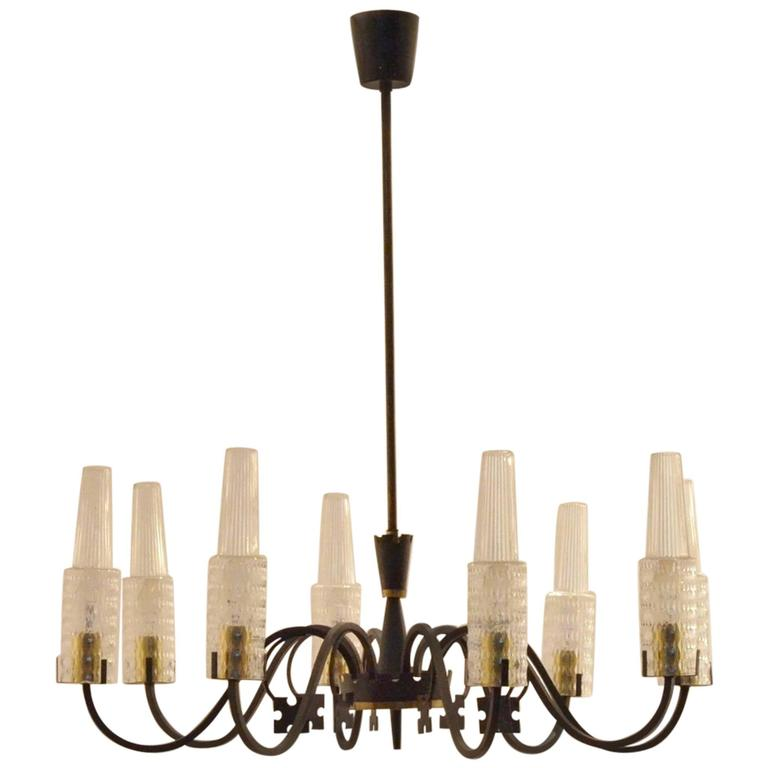 Mid-Century Modern Design 1950s Black Metal and Glass Chandelier Pendant Lamp