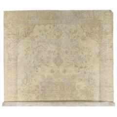Antiker Oushak Teppich, Handgefertigte Orientalische Wolldecke, Elfenbeinfarbiger Teppich, Taupe, Cremefarbiger Feiner Läufer