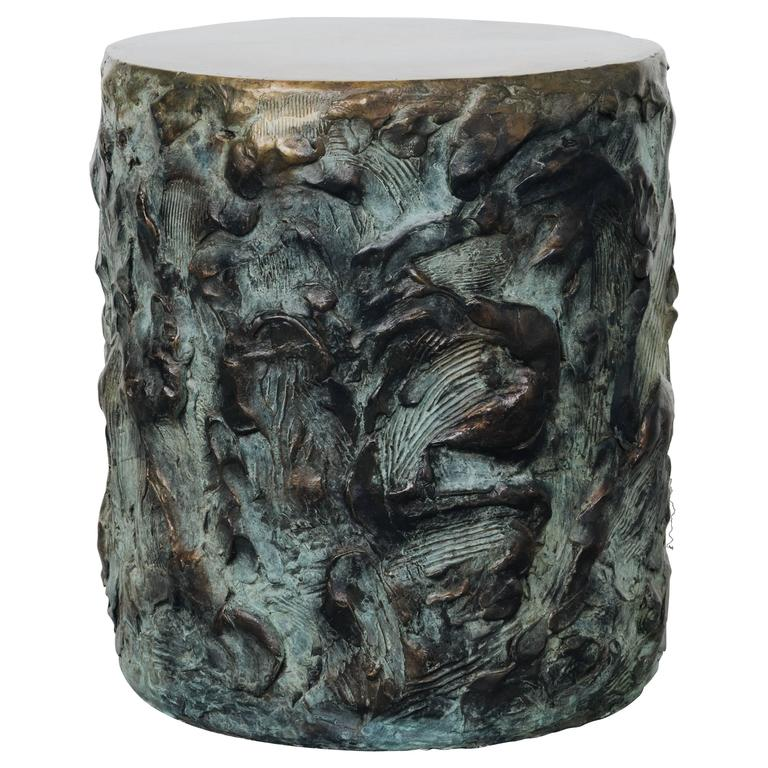 Hand Made Drum Side Table of Sculpted Bronze, by Samuel Amoia