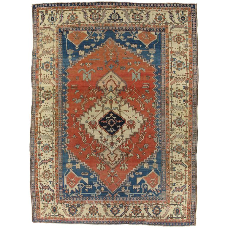 Ivory Wool And Silk Persian Naein Area Rug For Sale At 1stdibs: Antique Persian Serapi Carpet, Handmade Rug Ivory Border