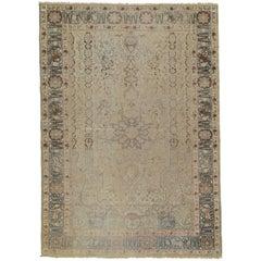 Vintage Silk Kaysari Rug, Turkish Rug, Handmade Oriental Rug, Taupe, Gray, Green