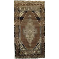 Vintage Kars Oushak Carpet, Handmade Oriental Rug, Brown Rug, Taupe, Cream Fine