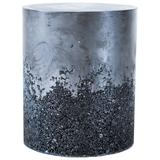 Hand Made Tourmaline and Black Plaster Drum, Side Table by Samuel Amoia