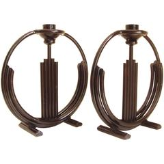 Large Pair of American Art Deco Black Enameled Hand-Wrought Iron Candlesticks