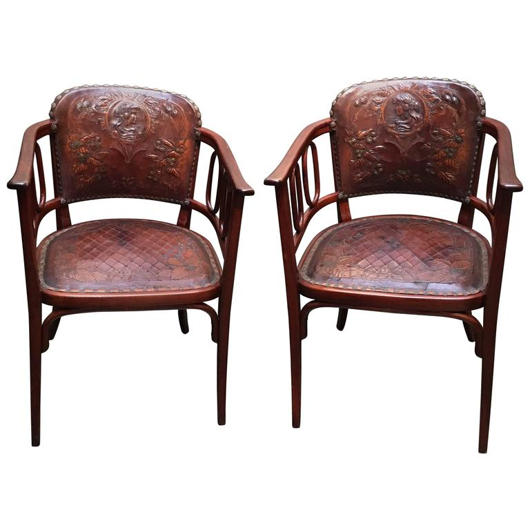 Beechwood Furniture Exterior pair of josef hoffman bent beechwood and hand tooled leather