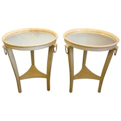 Art Deco Andre Arbus Parchment Leather and Mirror Side Tables, France, 1930s