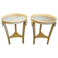 Art Deco Andre Arbus Parchment and Mirror Side Tables, France, 1930s