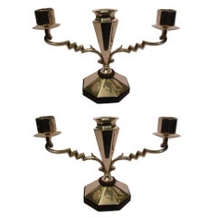 Pair of Art Deco Silver Candleholders with Flower Vase in the Middle