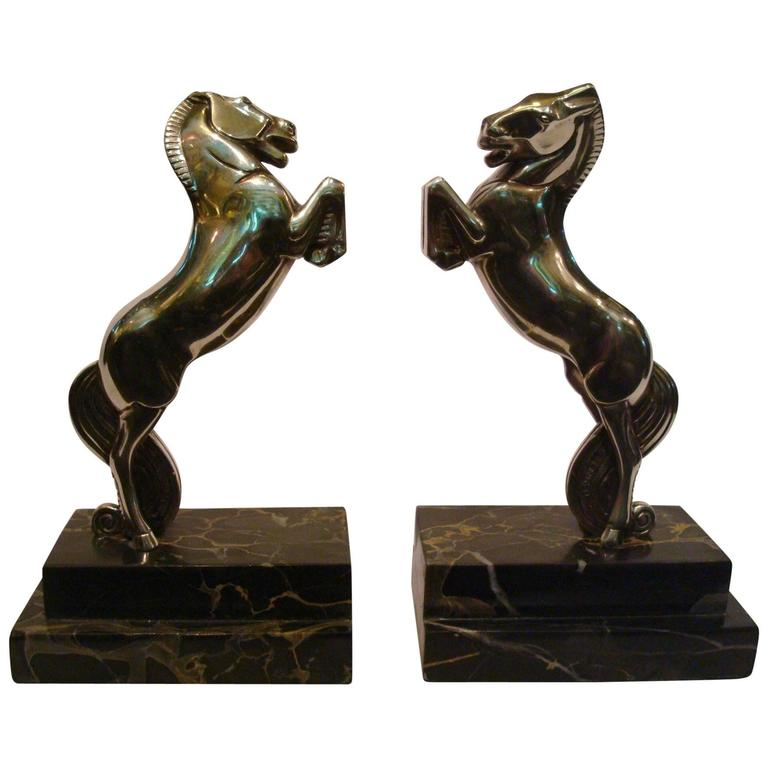 Art Deco Silvered Bronze Horse Bookends by Becquerel, France, 1930 For Sale