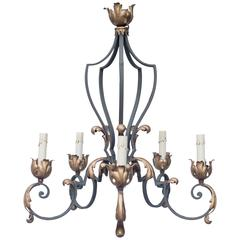 Early 20th Century French Iron Chandelier
