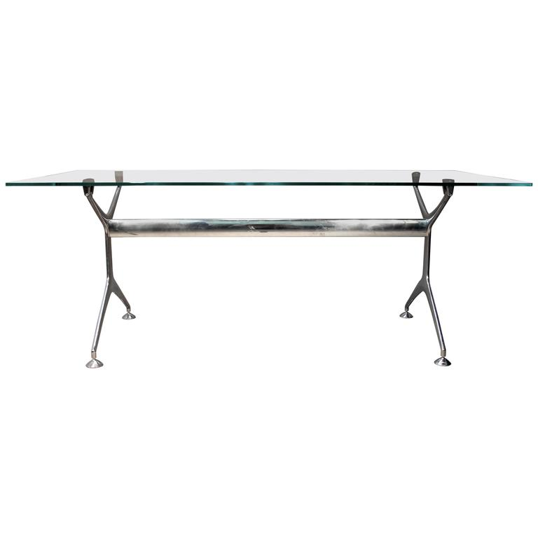Eames for herman miller glass top chrome base desk or - Eames table herman miller ...