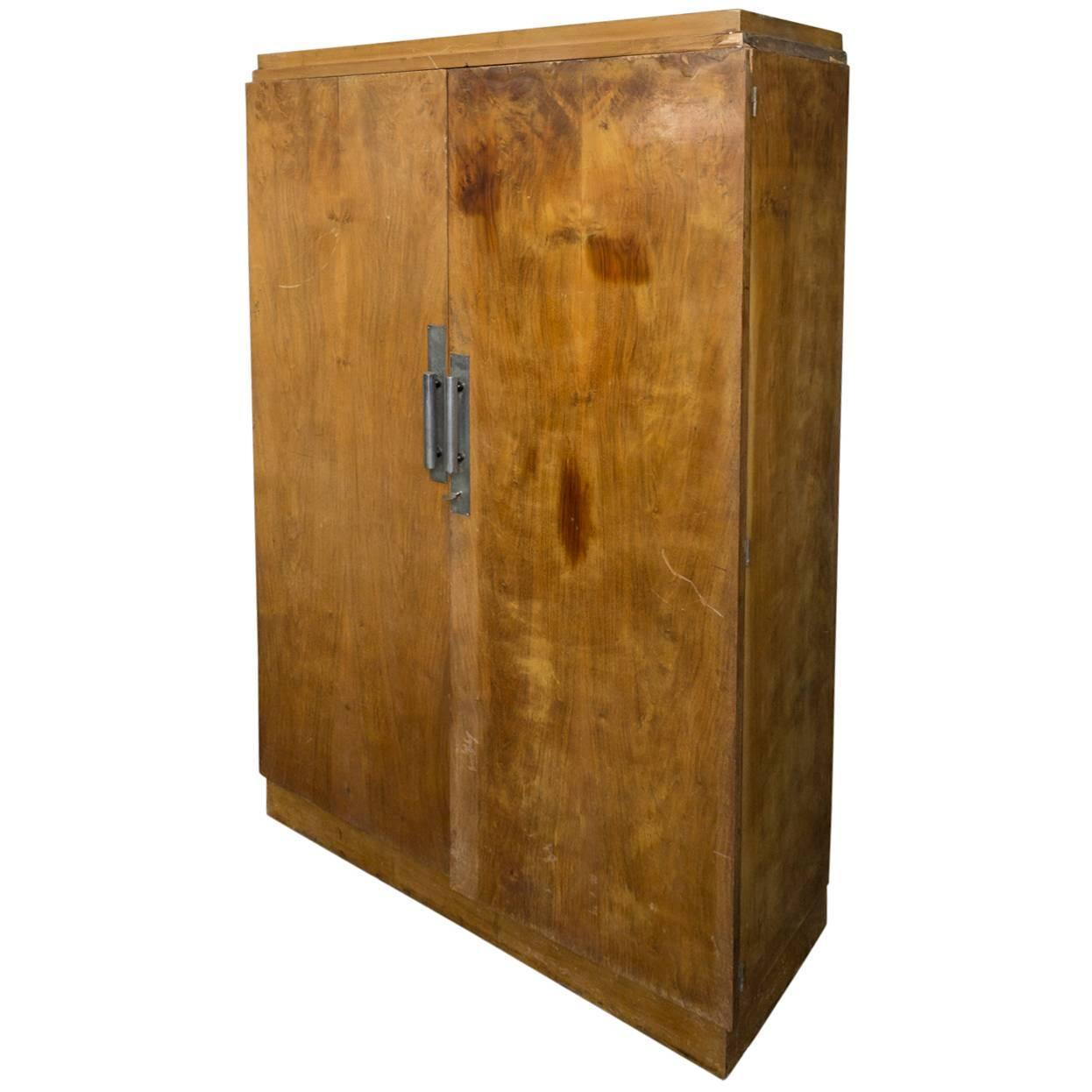 french walnut art deco style armoire at 1stdibs. Black Bedroom Furniture Sets. Home Design Ideas