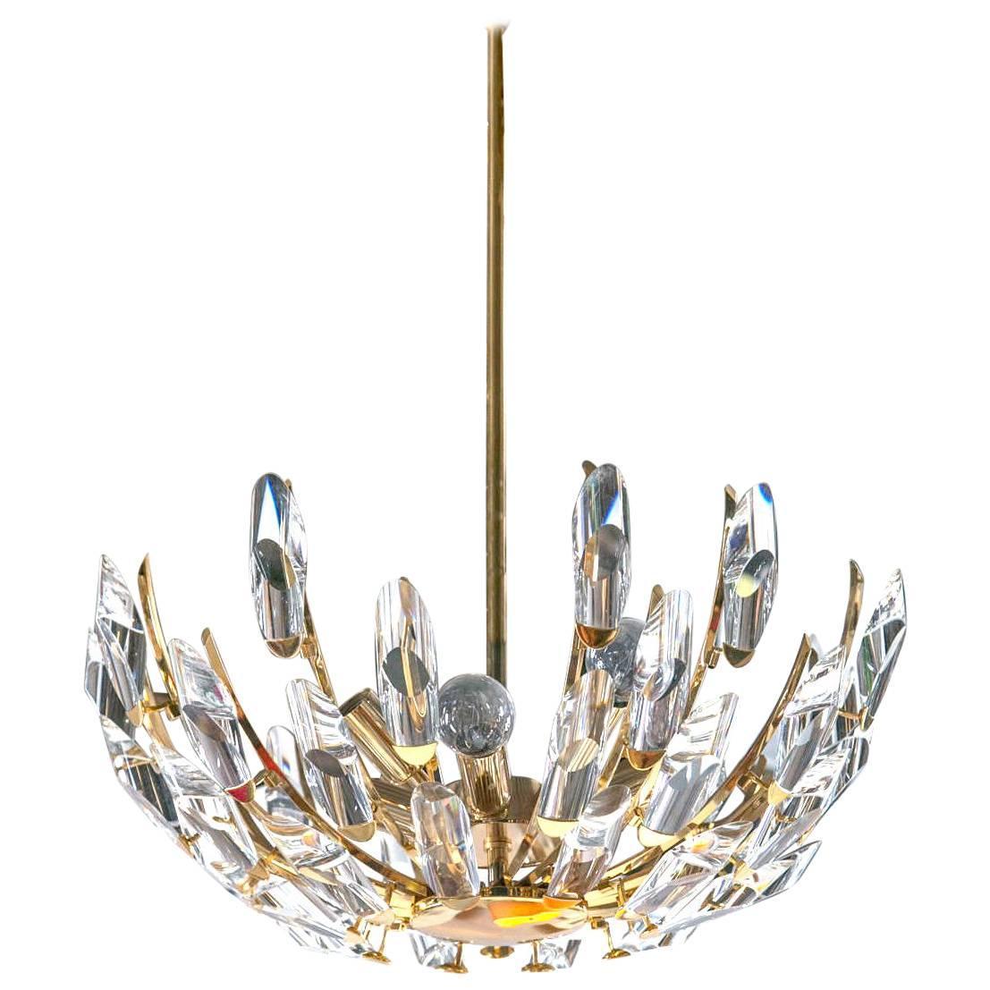 Stilkronen Crystal and Brass Chandelier