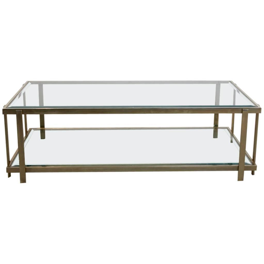 Large Graphical Glass Coffee Table On An Elegant Brass Frame France 1970s