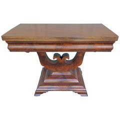 Fine Regency Flame Mahogany Lyre Base Side Table Games Table