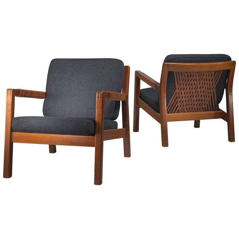 Carl Gustav Hiort af Ornäs Pair Oak and Leather Armchairs, Finland, 1950s 1