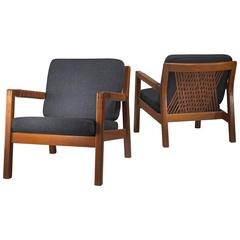 Carl Gustav Hiort af Ornäs Pair Oak and Leather Armchairs, Finland, 1950s