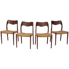 Niels Møller Model 71, Set of Four Teak and Cord Dining Chairs, Denmark, 1950s