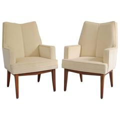 Modern High Back Velvet Armchairs