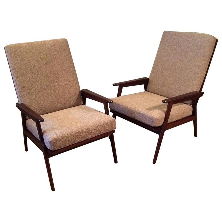 Pair Of Italian High Back Beech Lounge Chairs At 1stdibs