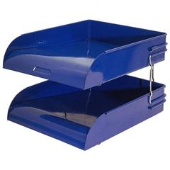 Art Deco Two-Tier Letter Tray, Royal Blue