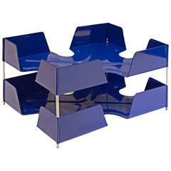 1920s Two-Tier Letter Tray, Royal Blue