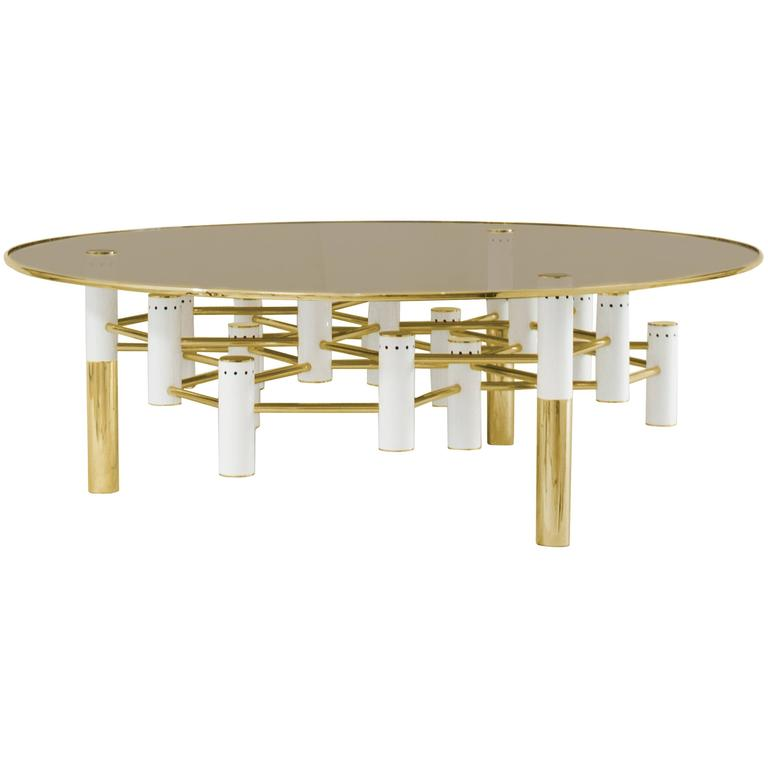 European Mid Century Modern Style Round Copper And Glass Coffee Cocktail Table For Sale At 1stdibs