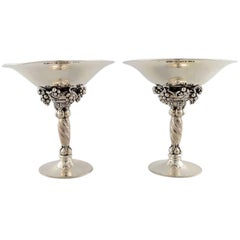 Georg Jensen Sterling Silver, a Pair of Grape Bowls