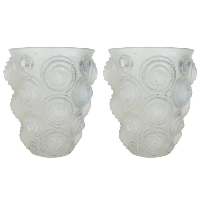 """René Lalique Pair of Opalescent """"Spirales"""" Vase"""