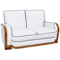 Antique Art Deco Ivory Leather Two-Seat Settee, circa 1930