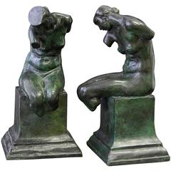 Female Nude Bookends, Rare Bronze Sculptures by Max Kalish, Paris Foundry