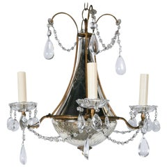 French Chandelier with Mirrored Body and Crystal Pendants