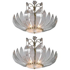 Pair of Large 1930 French Light Fixtures with Interior Lights