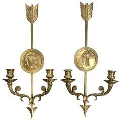 French Empire Style Double-Light Sconces