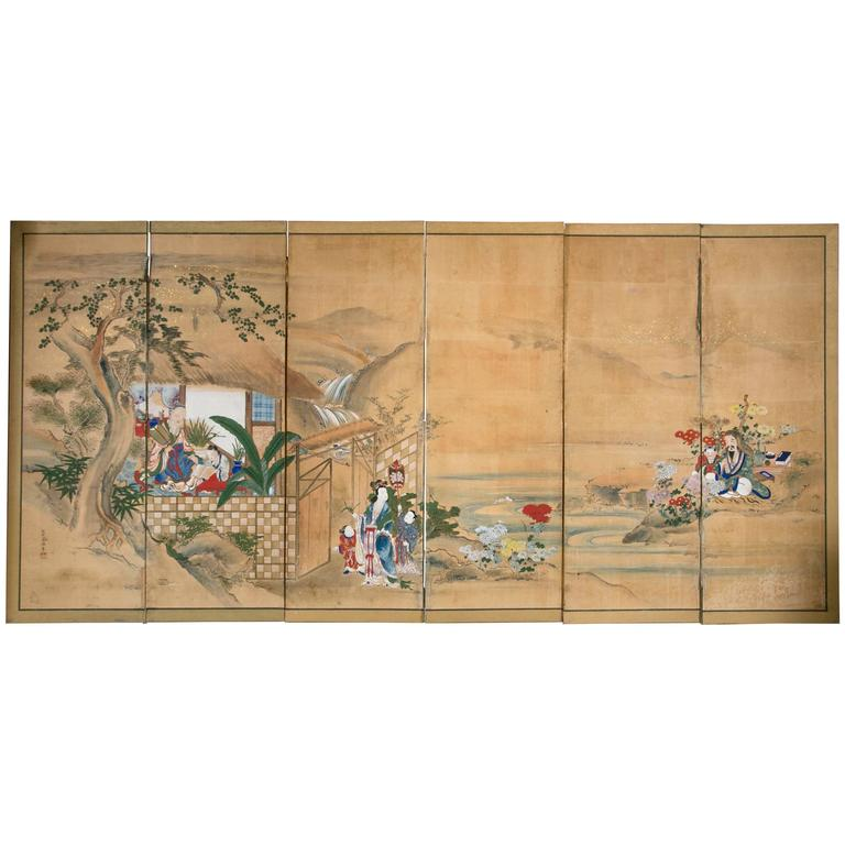 Six-Panel 18th Century Japanese Screen