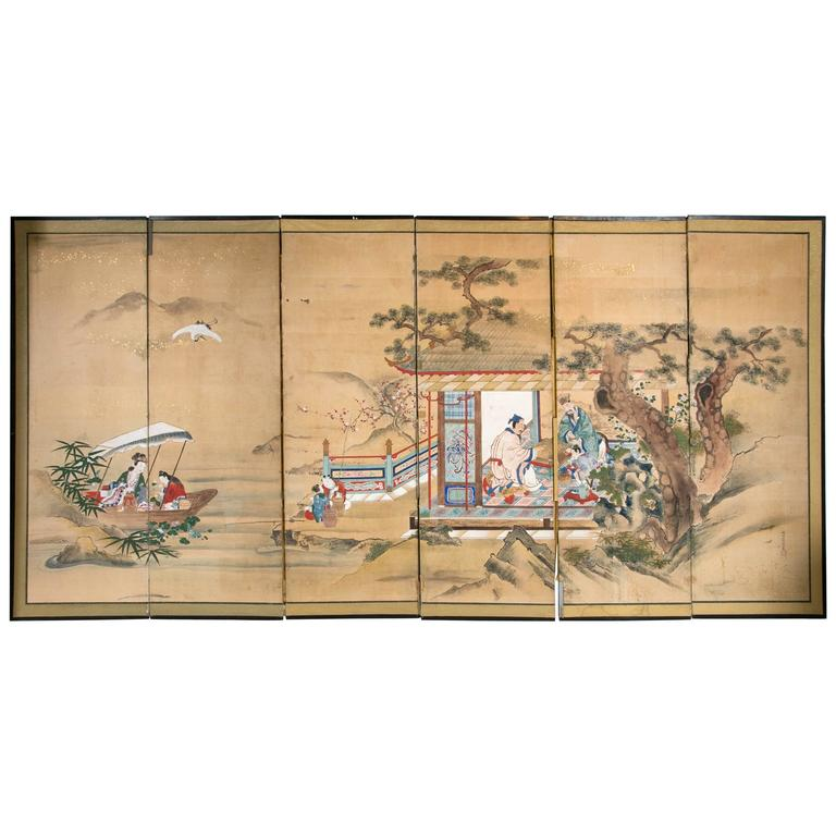 18th Century Six-Panel Japanese Screen
