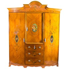 Antique Victorian English Satinwood and Painted Wardrobe