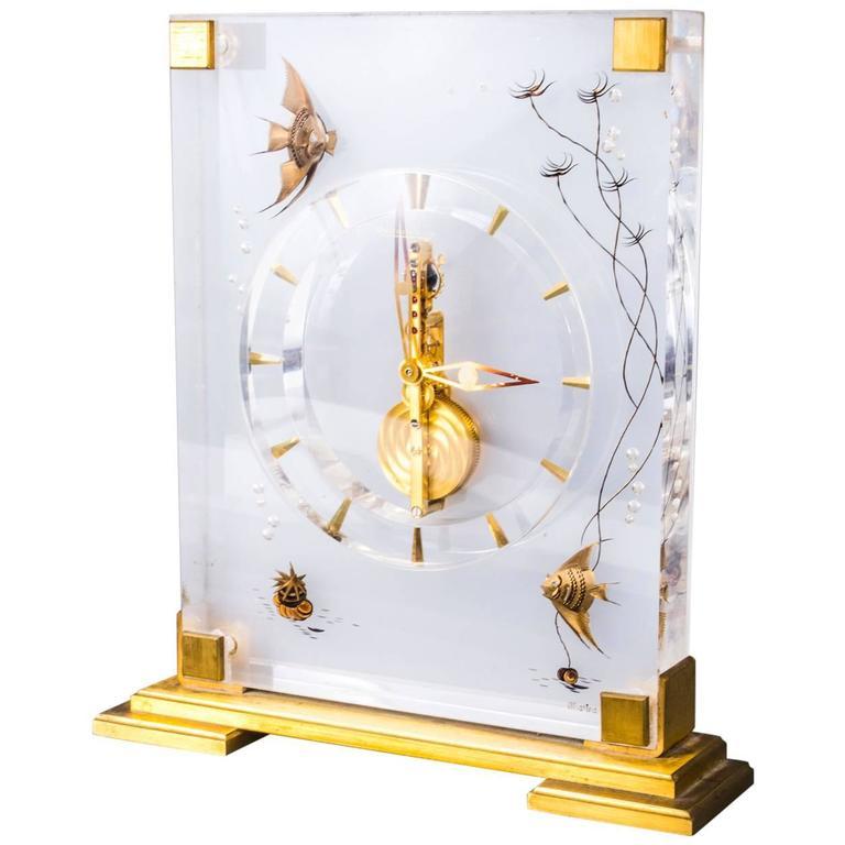 Mid-20th Century Jaeger le Coultre Marina Angel Fish Desk Clock