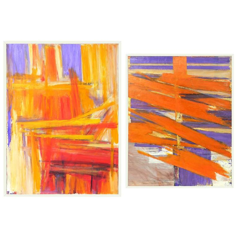 Pair of Vibrant 1970s Abstract Paintings #5