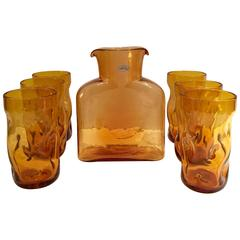 Set of Seven Blenko Glass Amber Pitcher and Glasses Drink Set